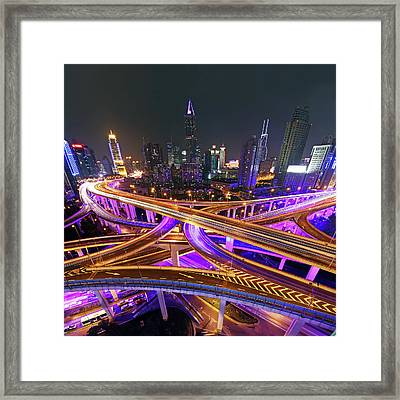 Highway Intersection In Shanghai Framed Print