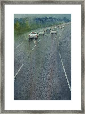 Highway On The Rain02 Framed Print