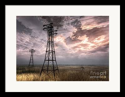 Haybale Digital Art Framed Prints