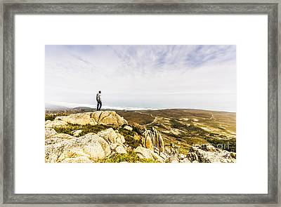 Hiker Man On Top Of A Mountain Framed Print by Jorgo Photography - Wall Art Gallery