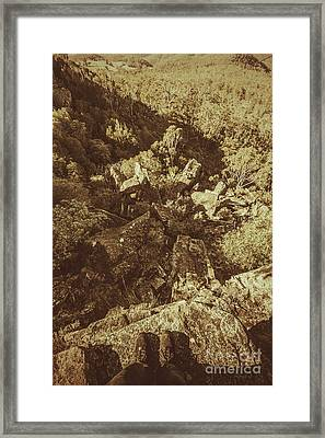 Hiker On Edge Of Tasmania Mountain Range Framed Print by Jorgo Photography - Wall Art Gallery