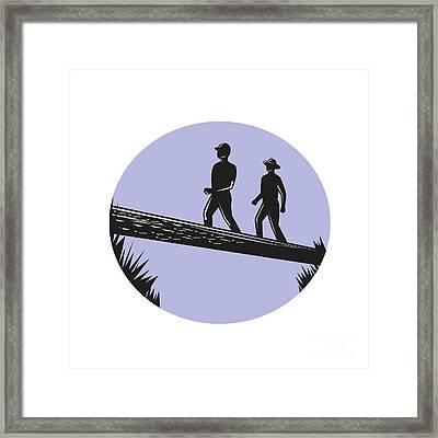 Hikers Crossing Single Log Bridge Oval Woodcut Framed Print