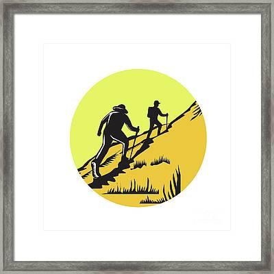 Hikers Hiking Up Steep Trail Circle Woodcut Framed Print