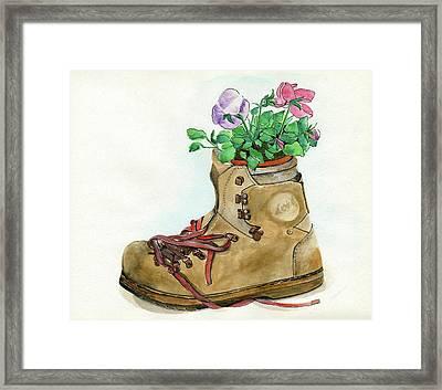 Hiking Boot Flower Pot Framed Print