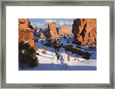 Hiking In Arches National Park Framed Print by Utah Images