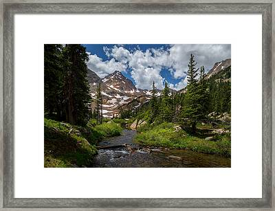 Hiking Into A High Alpine Lake Framed Print by Michael J Bauer