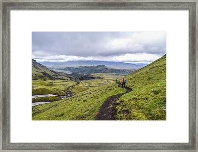 Hiking Into Thorsmork On The Fimmvorduhals Trail Framed Print
