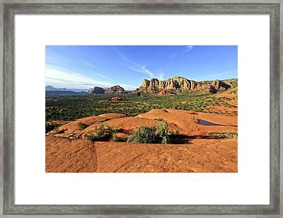 Hiking On Bell Rock Sedona Arizona Framed Print