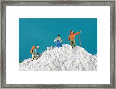 Hiking On Flour Snow Mountain Framed Print by Paul Ge