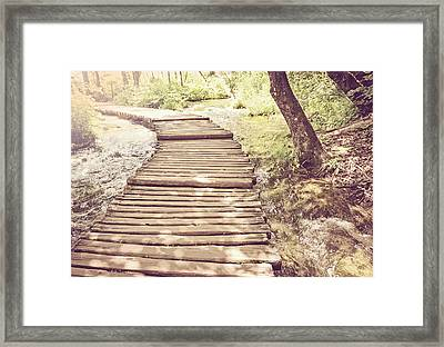 Hiking Path On A Wooden Trail With Retro Vintage Style Framed Print