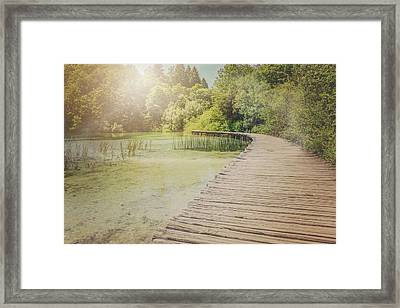 Hiking Path With Vintage Filter Framed Print