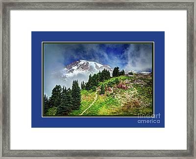 Hiking Rainier Framed Print