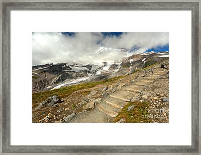 Hiking The Rainier Skyline Trail Framed Print by Adam Jewell