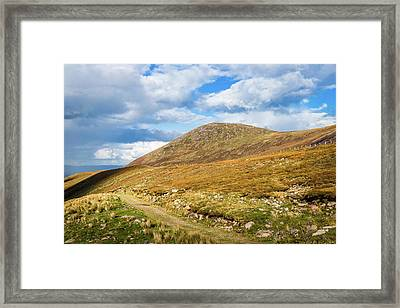 Framed Print featuring the photograph Hiking Trail Across The Mountain Range In County Kerry by Semmick Photo