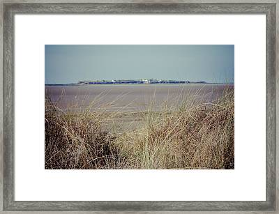 Hilbre Island Through The Grass Framed Print by Spikey Mouse Photography