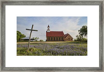 Hill Country Cross Framed Print by Stephen Stookey