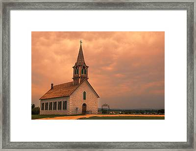 Hill Country Sunset - St Olafs Church Framed Print by Stephen Stookey