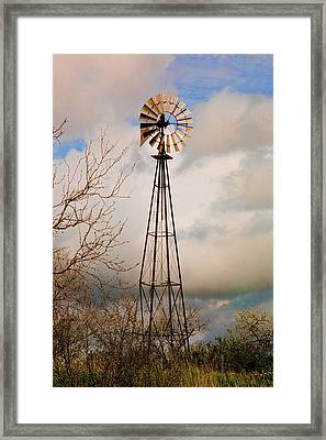 Framed Print featuring the photograph Hill Country Windmill by Michael Flood