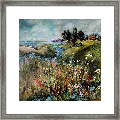Hill Top Wildflowers Framed Print by Sharon Furner