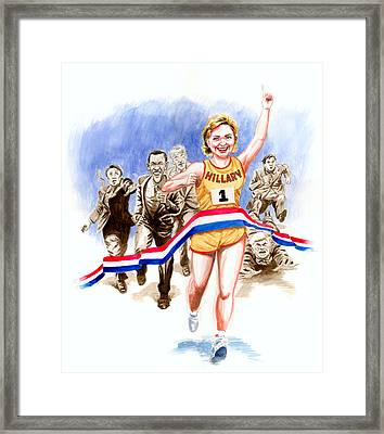 Hillary And The Race Framed Print