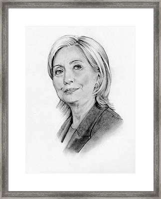 Hillary Clinton Pencil Portrait Framed Print