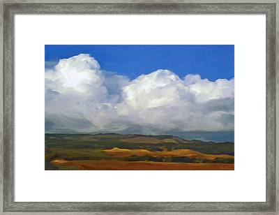 Hills And Clouds Framed Print by Thomas  Hansen