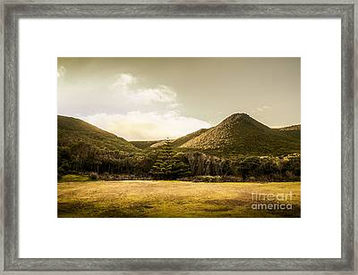 Hills And Fields Of Trial Harbour Framed Print