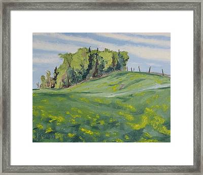 Hills Forest And Dadelions  Framed Print