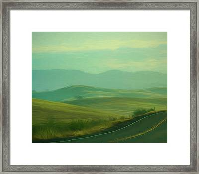 Hills In The Early Morning Light Digital Impressionist Art Framed Print