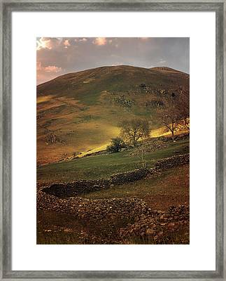 Hills Of Scotland At The Sunset Framed Print