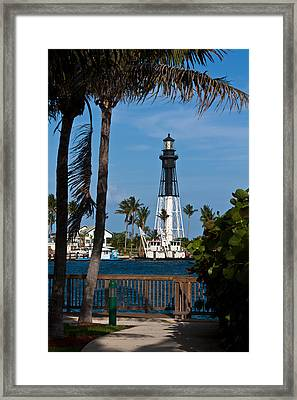 Hillsboro Inlet Lighthouse And Park Framed Print by Ed Gleichman