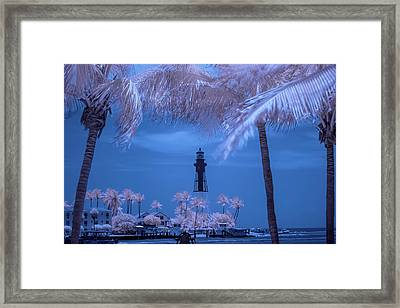 Framed Print featuring the photograph Hillsboro Inlet Lighthouse Infrared by Louis Ferreira
