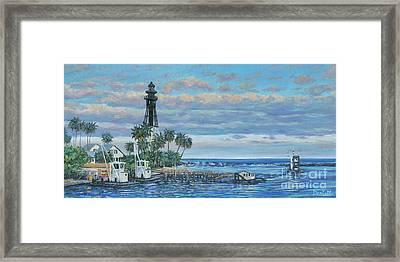 Hillsboro Lighthouse Dredge Framed Print by Danielle Perry