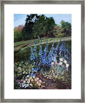Framed Print featuring the painting Hillside Garden by Diane Ursin