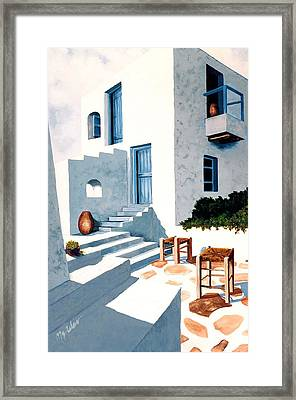Mykonos, Hillside House - Prints Of Original Oil Painting Framed Print by Mary Grden's Baywood Gallery