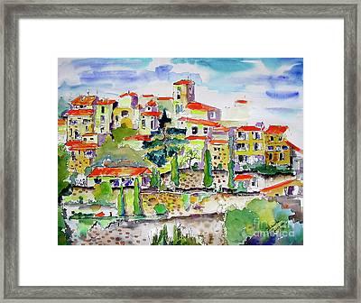 Hillside Village In Provence Framed Print by Ginette Callaway