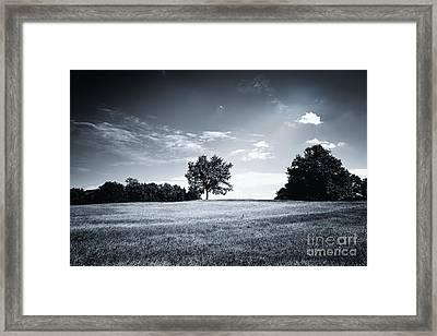 Hilly Black White Landscape Framed Print