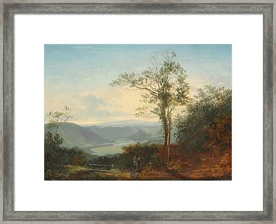 Hilly Landscape With A River In The Valley Framed Print