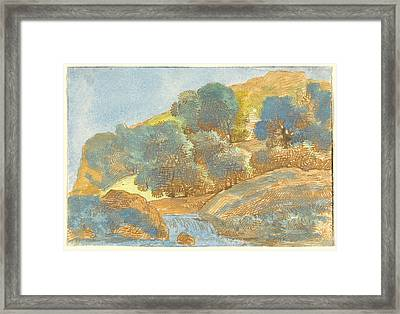 Hilly Landscape With A Stream Framed Print by Franz Innocenz Josef Kobell