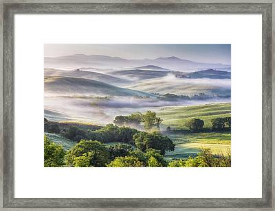 Hilly Tuscany Valley At Morning Framed Print by Evgeni Dinev