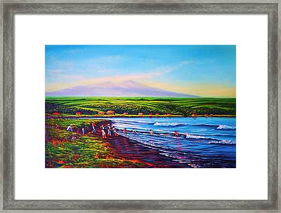 Hilo Bay Net Fisherman Framed Print
