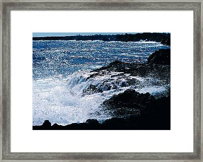 Framed Print featuring the photograph Hilo Coast Waves by Gary Cloud