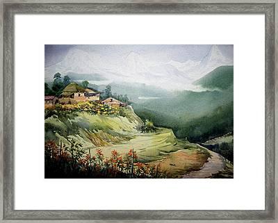 Himalaya Village Landscape Framed Print