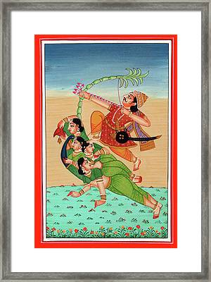 Hindu God Of Sexual Love Kamadeva Parrot Woman Kamasutra Folk Art Painting India Miniature Artwork Framed Print by A K Mundra