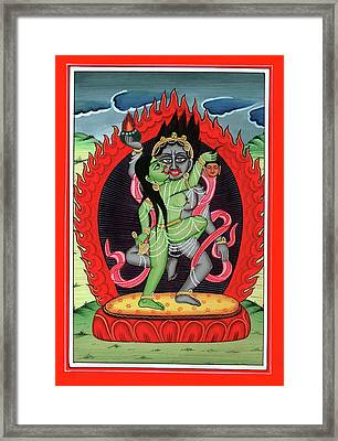 Hindu God Shiva Shakti Tantrik Tantra Painting Miniature Watercolor Art Framed Print by A K Mundra
