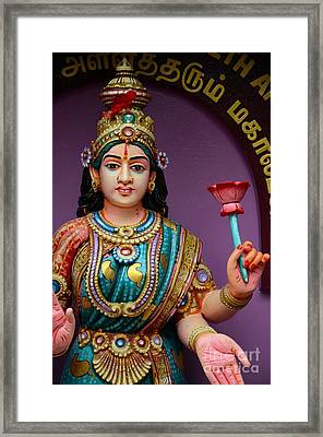 Hindu Goddess Deity Of Wealth Fortune And Prosperity Lakshmi Framed Print by Imran Ahmed