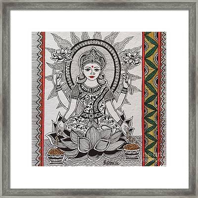 Goddess Laxmi - Madhubani  Framed Print