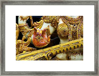 Hindu Goddess Saraswati Detail Framed Print by Tim Gainey