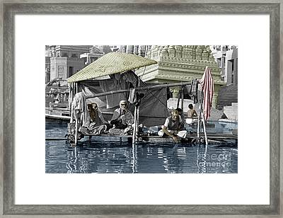Hindu Holy Men On The Ganges - Vernasai, India Framed Print by Craig Lovell
