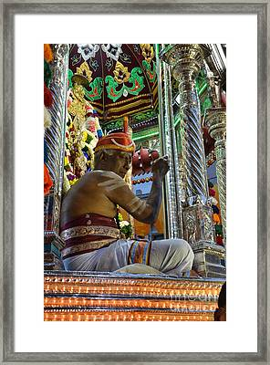 Hindu Man In Costume Sits On Vehicle For Festival Singapore  Framed Print by Imran Ahmed